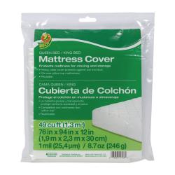 """Duck® Mattress Cover, Queen/King, 76""""H x 94""""W x 12""""D, Clear"""