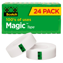 "Scotch® Magic™ Invisible Tape, 3/4"" x 1000"", Clear, Pack of 24 rolls"