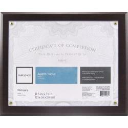 """Realspace™ Award Plaque, 8-1/2"""" x 11"""", Mahogany"""