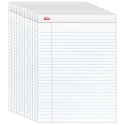 """Office Depot® Brand Perforated Writing Pads, 8-1/2"""" x 11-3/4"""", Legal Ruled, 50 Sheets, White, Pack Of 12 Pads"""