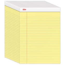 "Office Depot® Brand Perforated Writing Pads, 8-1/2"" x 11-3/4"", Legal Ruled, 50 Sheets, Canary, Pack Of 12 Pads"