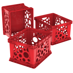 Storex® File Crates, Medium Size, Classroom Red, Pack Of 3