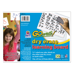 """GoWrite!® Dry-Erase Double-Sided Learning Boards, Non-Adhesive, 11"""" x 8 1/4"""", White, Pack Of 30"""