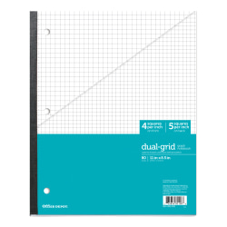 "Office Depot® Brand Wireless Notebook, 8 1/2"" x 11"", 1 Subject, Dual-Sized Quadrille Ruled (4"" x 4"", 5"" x 5""), 80 Sheets, Teal"