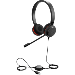 Jabra Evolve 30 II Headset - Stereo - Mini-phone, USB - Wired - 32 Ohm - 150 Hz - 7 kHz - Over-the-head - Binaural - Supra-aural - 3.94 ft Cable - Electret, Condenser, Noise Cancelling Microphone - Noise Canceling - Black - TAA Compliant