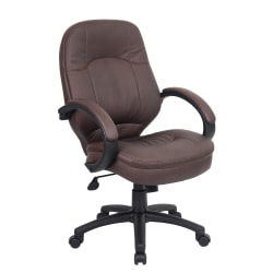 Boss Office Products Bonded LeatherPlus™ Mid-Back Chair, Bomber Brown/Black
