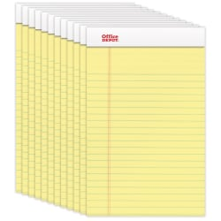 """Office Depot® Brand Perforated Writing Pads, 5"""" x 8"""", Narrow Ruled, 50 Sheets, Canary, Pack Of 12 Pads"""