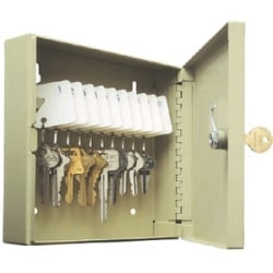 "MMF POS STEELMASTER UNI-TAG Key Cabinet - 10 Key Capacity - 6.9"" x 2"" x 6.8"" - Hinged Door(s) - Durable, Chip Resistant, Anti-theft, Damage Resistant, Pre-drilled Mounting Hole, Locking Door - Sand - Steel"