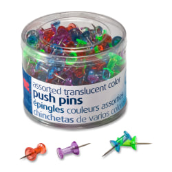 OIC® Translucent Pushpins, Assorted Colors, Pack Of 200