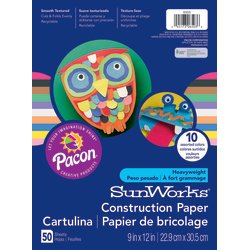 "SunWorks® Construction Paper, 9"" x 12"", Assorted, Pack Of 50"