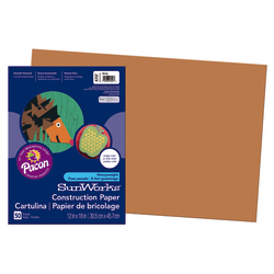 "SunWorks® Construction Paper, 12"" x 18"", Brown, Pack Of 50"