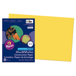 "SunWorks® Construction Paper, 12"" x 18"", Yellow, Pack Of 50"