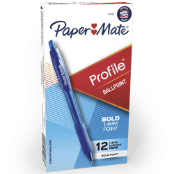 Paper Mate® Profile™ Retractable Ballpoint Pens, Bold Point, 1.4 mm, Translucent Barrel, Blue Ink, Pack Of 12