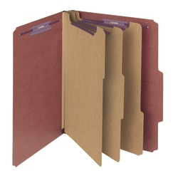 """Smead® Pressboard Classification Folders With SafeSHIELD® Fasteners, 3 Dividers, 3"""" Expansion, Letter Size, 100% Recycled, Red, Box Of 10"""