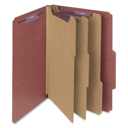 """Smead® Classification Folders, With SafeSHIELD® Coated Fasteners, 3 Dividers, 3"""" Expansion, Legal Size, 100% Recycled, Red, Box Of 10"""