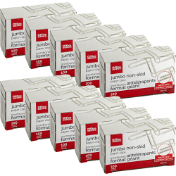 "Office Depot Brand® Brand Paper Clips, 4"", 20-Sheet Capacity, Silver, 100 Clips Per Box, Pack Of 10 Boxes"