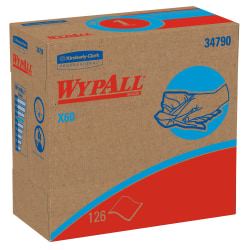 """Kimberly-Clark Professional™ Wipers WypAll™ X60 Pop-Up™ Box, 9 1/10"""" x 16 4/5"""", Box Of 126"""