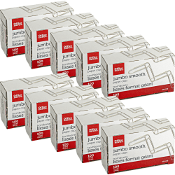 """Office Depot Brand® Brand Paper Clips, 4"""", 20-Sheet Capacity, Silver, 100 Clips Per Box, Pack Of 10 Boxes"""