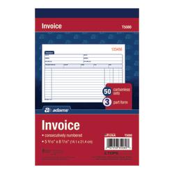 "Adams® Carbonless Invoice Book, 3-Part, 5 9/16"" x 8 1/2"", Multicolor"