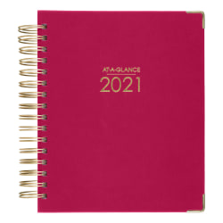 """AT-A-GLANCE® Harmony Daily/Monthly Hardcover Planner, 7"""" x 8-3/4"""", Berry, January To December 2021, 6099-806-59"""