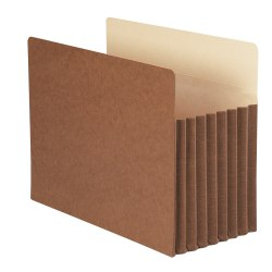 """Smead® TUFF® Pocket File Pockets, 7"""" Expansion, 9 1/2"""" x 11 3/4"""", 30% Recycled, Redrope, Pack Of 5"""