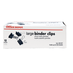"""Office Depot® Brand Binder Clips, Large, 2"""" Wide, 1"""" Capacity, Black, Box Of 12"""