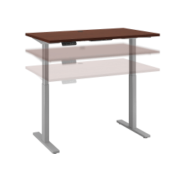 """Bush Business Furniture Move 60 Series 48""""W x 24""""D Height Adjustable Standing Desk, Harvest Cherry/Cool Gray Metallic, Standard Delivery"""