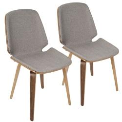 LumiSource Serena Dining Chair, Walnut/Light Grey, Set Of 2