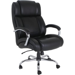 Lorell® UltraCoil Comfort Big And Tall Bonded Leather Chair, Black