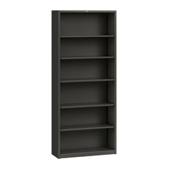 "HON® Brigade® 81 1/8"" 6 Shelf Transitional Bookcase, Black/Dark Finish, Standard Delivery"