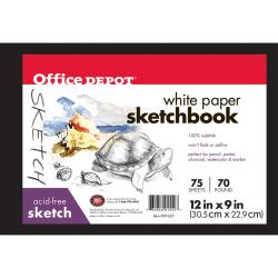 "Office Depot® Brand Sketchbook, Hardcover, 9"" x 12"", 75 Sheets"