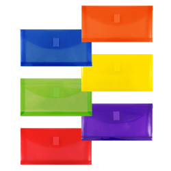 "JAM Paper® Plastic Booklet Envelopes, #10, 5-1/4"" x 10"", Assorted Colors, Pack Of 6 Envelopes"