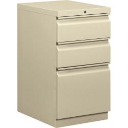 "HON® Efficiencies™ 19-7/8""D Vertical 3-Drawer Mobile Pedestal Cabinet, Putty"