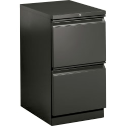 "HON® Brigade® 15""W Lateral 2-Drawer Mobile Pedestal Cabinet, Charcoal"