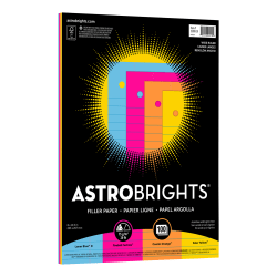 "Astrobrights® Filler Paper, 8"" x 10 1/2"", Wide Ruled, 20 Lb, FSC® Certified, Assorted Colors, Pack Of 100 Sheets"
