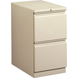 "HON® Brigade® 15""W Lateral 2-Drawer Mobile Pedestal Cabinet, Putty"