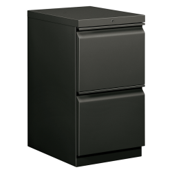 "HON® Brigade® 15""W Lateral 2-Drawer Mobile ""R"" Pull Pedestal Cabinet, Charcoal"