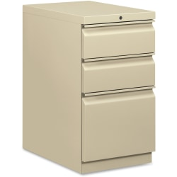 "HON® Efficiencies™ 22-7/8""D Vertical 3-Drawer Mobile Pedestal Cabinet, Putty"