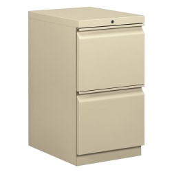 "HON® Brigade® 15""W Lateral 2-Drawer Mobile ""R"" Pull Pedestal Cabinet, Putty"