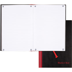 Black n' Red Casebound Business Notebook - 96 Sheets - Case Bound - Ruled - Black/Red Cover - Bleed Resistant, Ink Resistant, Smooth, Hard Cover, Ribbon Marker - 1Each
