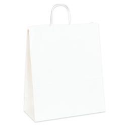 """Partners Brand Paper Shopping Bags, 13""""W x 6""""D x 15 3/4""""H, White, Case Of 250"""