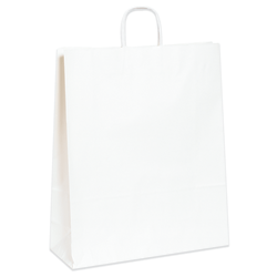 """Partners Brand Paper Shopping Bags, 16""""W x 6""""D x 19 1/4""""H, White, Case Of 200"""
