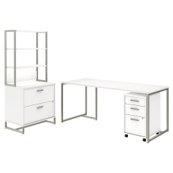 """kathy ireland® Office by Bush Business Furniture Method Table Desk with File Cabinets and Hutch, 72""""W, White, Premium Installation"""