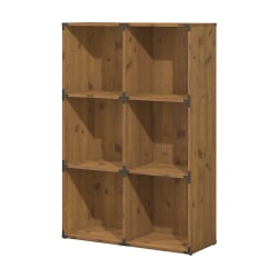 kathy ireland® Home by Bush Furniture Ironworks 6 Cube Bookcase, Vintage Golden Pine, Standard Delivery