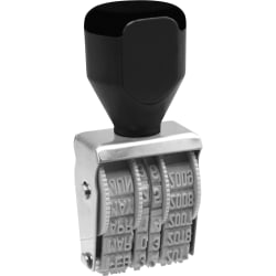 QWIKMARK Heavy Duty Rubber Date Stamps - Date Stamp - 4 Bands - Gray - Steel Frame - 1 Each