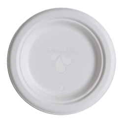 """Highmark® Compostable Sugercane Paper Plates,  6"""", White, Pack Of 50"""