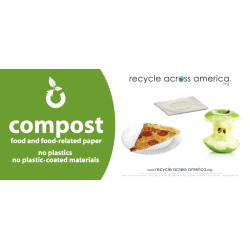 """Recycle Across America Compost Standardized Labels, COMP-0409, 4"""" x 9"""", Green"""