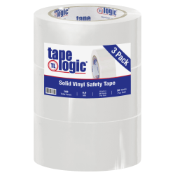 "BOX Packaging Solid Vinyl Safety Tape, 3"" Core, 2"" x 36 Yd., White, Case Of 3"