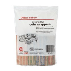 Pap-R Products Flat Tubular Coin Wrappers, Assorted, Pack Of 150 Wrappers