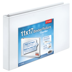 "Cardinal® Slant-D® Ring 11"" x 17"" Tabloid ClearVue™ Binders, 1 1/2"" Rings, 64% Recycled, White"